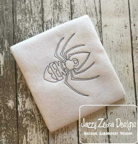 Eek spider red work embroidery design - vintage embroidery design - spider embroidery design - halloween embroidery design - eek embroidery