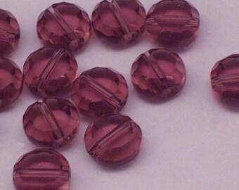 16 perles de pièce de verre tchèque violet 10mm / / translucide plate ronde perles / / facettes perles pièce plate