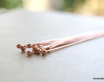 Handmade Copper Headpins Jewelry Supplies Ball End 20 Gauge 10 Quantity