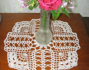 Cross and Fan Textured Crocheted Lace Doily