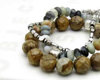 Picture Jasper Minimalist Beaded Unisex Bracelet    For Her or Him Under 100 Free Gift Wrap