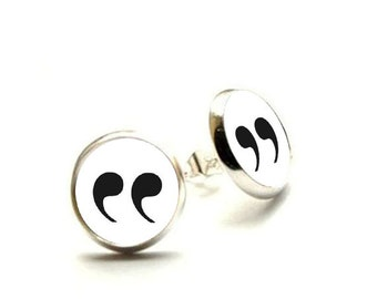 Quotation Mark Earrings, Punctuation, Quotation, Reader Earrings, Gifts for Writers, Book Lovers, Bookish, Book Addict