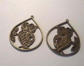 Owl pendentif composants 2 pièces ensemble Bronze/laiton/or composant Destash