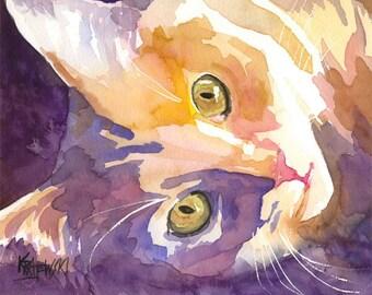 Long Haired Cat Art Print of Original Watercolor Painting 11x14