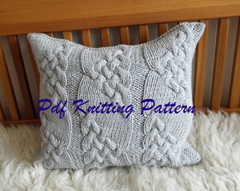 PDF Knitting Pattern, Cable knit pillow cover No.1, 20 x 20, button