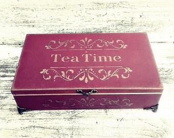 large tea bag box, tea bag box, vintage tea box, luxury tea bag box, Christmas gift