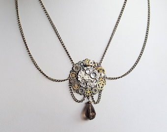 Steampunk Drape Necklace with watch movement and pendant