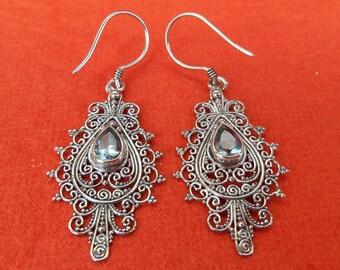 Balinese Sterling Silver genuine blue Topaz gemstone dangle Earrings / 2 inches long / silver 925 / (#134e)