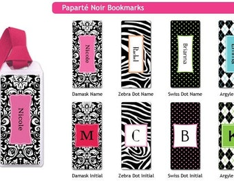 Personalized Bookmarks - zebra print bookmarks, damask bookmarks, kids bookmarks stocking stuffers polka dots or argyle bookmarks