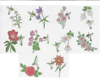 Embroidered  quilt blocks--Hummingbirds