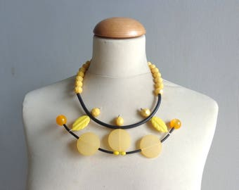 Yellow necklace, yellow statement necklace, yellow rubber necklace, geometric bib necklace