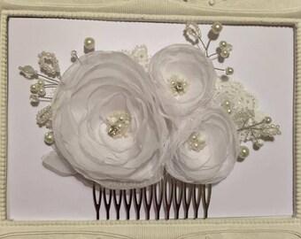 Wedding hair clip bridal flower, white wedding Ela hairstyle