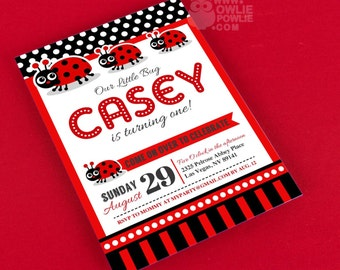 Lady Bug BIRTHDAY Party Printable 5 x 7 inch Invitation, INSTANT DOWNLOAD, You Edit Yourself with Adobe Reader