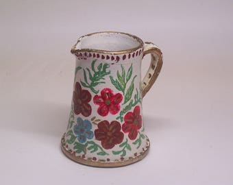 beautiful vintage handmade & hand painted ceramic pitcher vase