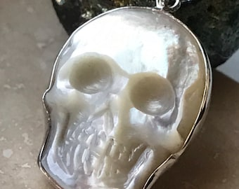 Hand Carved Mother of Pearl Skull Pendant