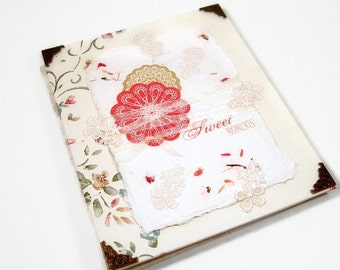 Shabby Chic Red Flower Blank Journal Coptic Stitched