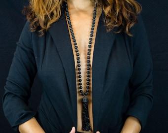 Black Spinel Tassel Necklace - Black Agate Necklace - Beaded Necklace - Gemstone Necklace - Tassel Necklace - Long Necklace - Wire Crochet