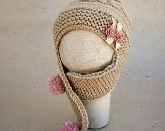 Knit Baby Hat With Flower - Baby Girl Knit Hat - Baby Ear Flap - Hat Girl