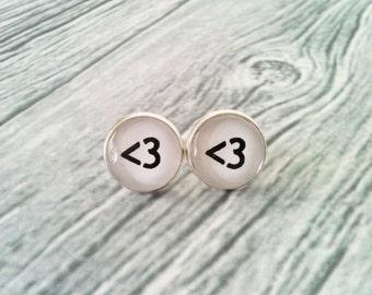 Geek heart earrings, geek stud earrings, hypoallergenic, gamer jewelry, gift idea, black and white, love, geeky, technology, computer