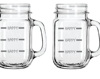 Etched Happy Happy Happy Glass  FREE Personalization
