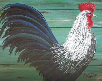 Original Painting of a Rooster - Acrylic on canvas - Signed by the artist