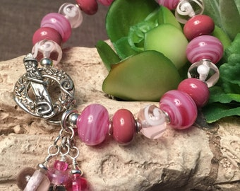 IN THE PINK, artisan lampwork and sterling silver bracelet
