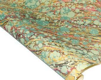 Hand-Marbled Paper Imported From Italy - Vein Pattern - Green