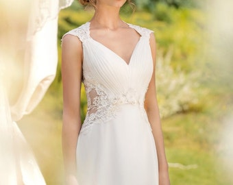Designer Wedding Gown Bohemian Wedding Dress Lace Back dress from chiffon Made to order