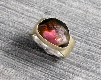 Multicolor Ring, 9k Gold Bezel, Gold Soldered Over Silver, Stacking Rainbow Tourmaline ,Rustic, Raw Gemstone