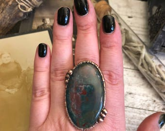 Bloodstone Ring Size 10.25 / Large Natural Stone Ring / Handmade Copper Electroformed Ring / Boho Jewelry Hippie Ring Gypsy Statement Ring