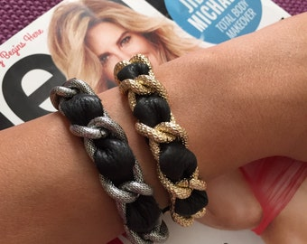 Chain and Leather Link Coco Bracelet