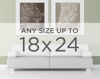 """18x24"""" Cityscape Map Poster: Choose your City"""
