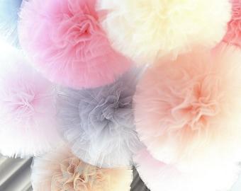 Tulle pom poms set of 3 large 12'size - custom color poms - wedding party decorations / nursery / cluster / set