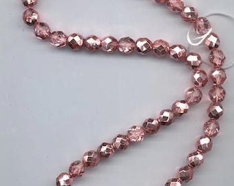 One 16-inch strand (about 50 beads) 8 mm crystal/metallic pink apricot firepolished Czech beads - lot 877
