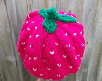 """Raspberry beret hat 52-54 cm comfortable slouchy pink hat with flirt factor size (20.3""""-21""""inch) handknit hat green crochet leaves on top"""