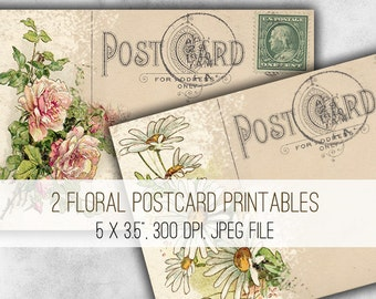 Floral Postcards Digital Collage Sheet Download - 1017 - Digital Paper - Instant Download Printables