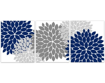 Home Decor Wall Art CANVAS and PRINTS, Blue Grey Wall Art, Flower Burst Art, Bathroom Wall Decor, Blue Bedroom Decor - HOME108