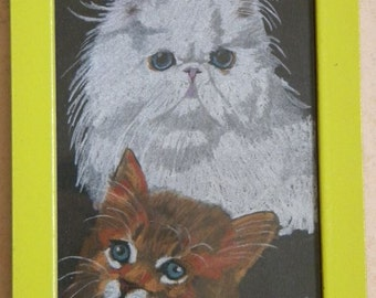 CATS IN DRAWING under glass frame