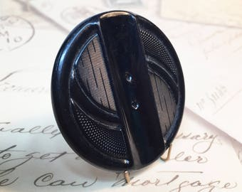 Large Celluloid Etched Black Button - Vintage Black Tight Top Celluloid Button - Collectible Button - Large Craft Button - B138 - 1 Button