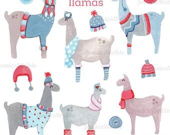 Sweater Llamas Watercolor Clipart, Digital Watercolor Winter Clip Art, Watercolour Clip Art, Hand Painted Seasonal Christmas Watercolor