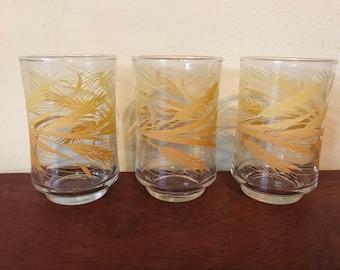 Three Vintage Libbey Golden Wheat Juice Glasses