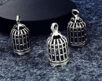 10pcs Antique silver Birdcage Charm Pendants Findings (#3010005)