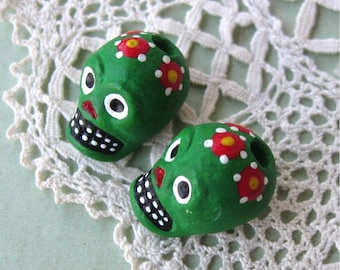SALE! Day of the Dead Skull Beads Green Peru Handpainted Ceramic Vertical Hole (2)