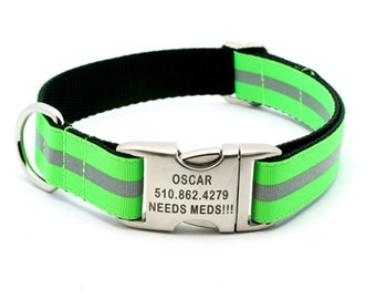 Reflective Dog Collar with Laser Engraved Personalized Buckle - NEON GREEN