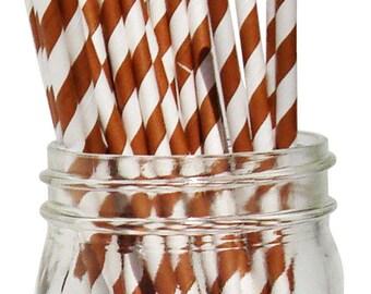 Big Pack 80 Chocolate Brown Stripe Paper Drinking Straws - Wedding - Birthday - Celebration & Party Supplies