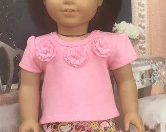 American Doll Pink top with Rose Fabric Flowers and Monkey Ruffle Skirt, Ready to Ship, Girl Doll 18 inch doll clothes, Monkey skirt RTS