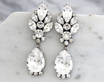 Bridal Earrings, Bridal Crystal Chandeliers, Antique Silver Bridal Earrings, Swarovski Crystal Earrings, Bridal Chandeliers, Bridal Jewelry