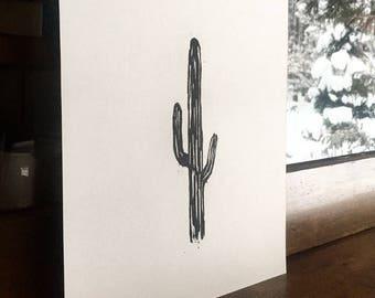Original Saguaro Woodblock Print