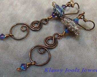 Glass Bead Earrings-Organic Artisan Earrings-Rustic Artisan Lampwork Dangle Earrings-Oxidized Copper Swirl Earrings-Tribal EarringsSRAJD