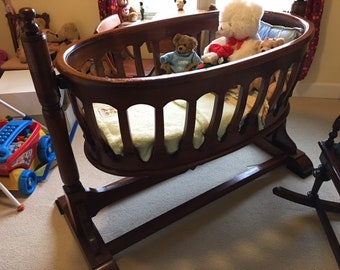 LOCAL ONLY  !!! Beautiful hand-made swinging Baby CRADLE with frame ~ oval shaped crib ~ Heirloom quality ~ made Bornea Balikpapan Indonesia